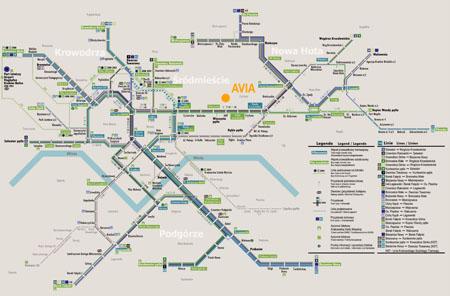 Mapa de tranvías de Cracovia