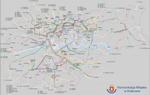 Mapa de autobuses de Cracovia